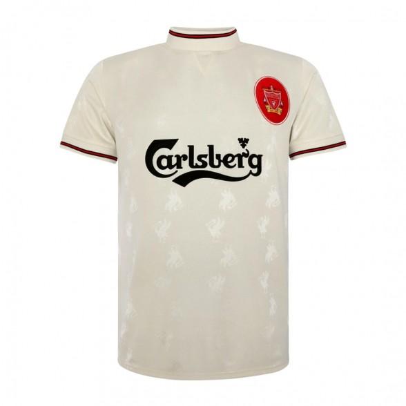 Camiseta segunda equipación vintage Liverpool FC 1996-97 Blanca