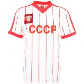 Camiseta retro URSS, blanca con rayitas rojas