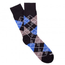Argyle Pitch / Negro - Gris - Azul - Blanco