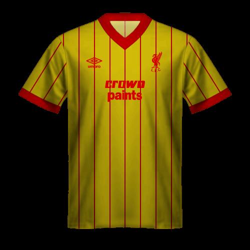 Camiseta Liverpool 1985/86 segunda equipación