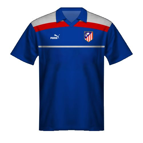 Camiseta azul Atletico Madrid 1986 recopa