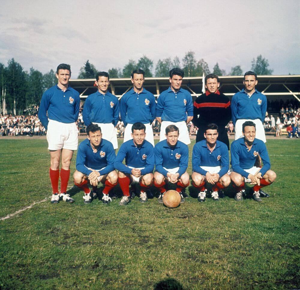 Equipo de Francia de 1958 con camiseta de fútbol Francia 1958