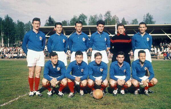 Sleccíon de Francia con la camiseta de 1958