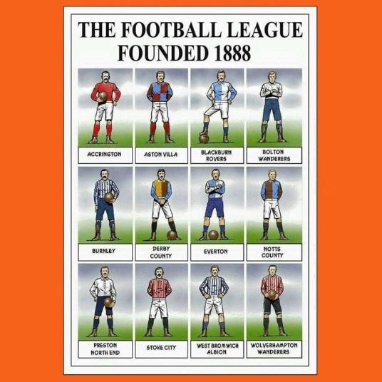 I 12 Membri Fondatori della Football League nata nel 1888