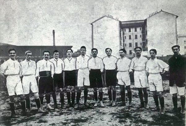 La primera selección italiana de fútbol en 1910